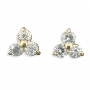 Small 9ct Gold Cubic Zirconia Triple stone stud earrings
